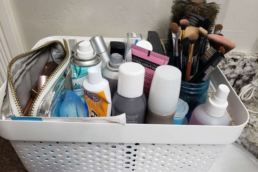 Getting ready for work basket of products