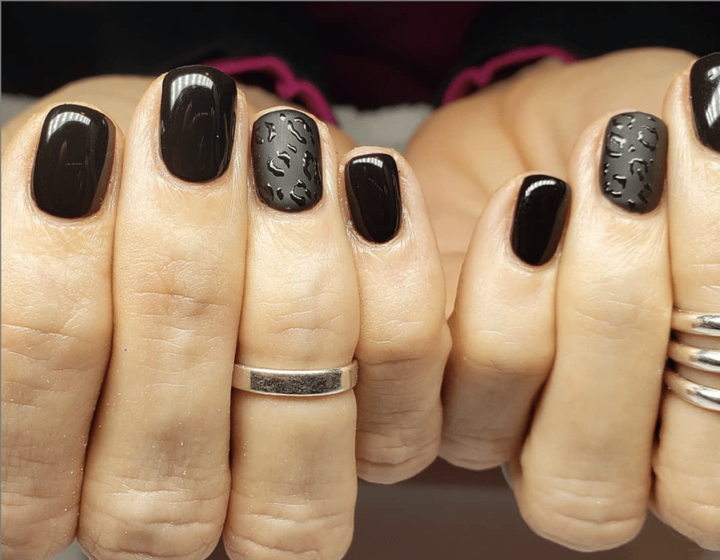 Cheap and lasting mani black and leopard print nails