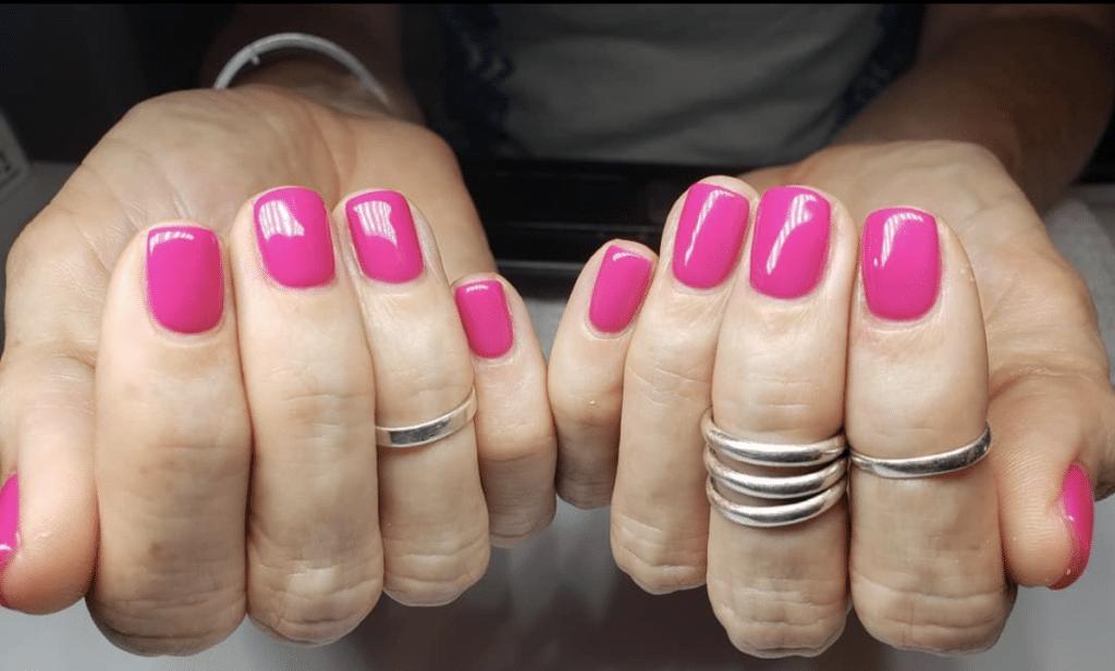 Cheap and lasting mani hot pink nails
