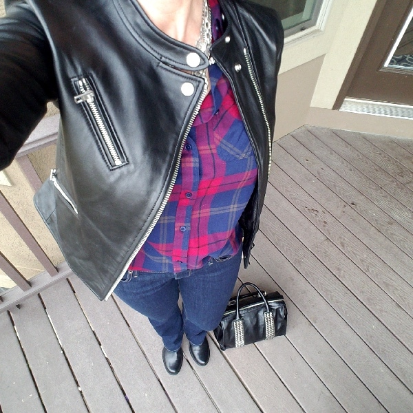 Burgundy plaid shirt with moto jacket