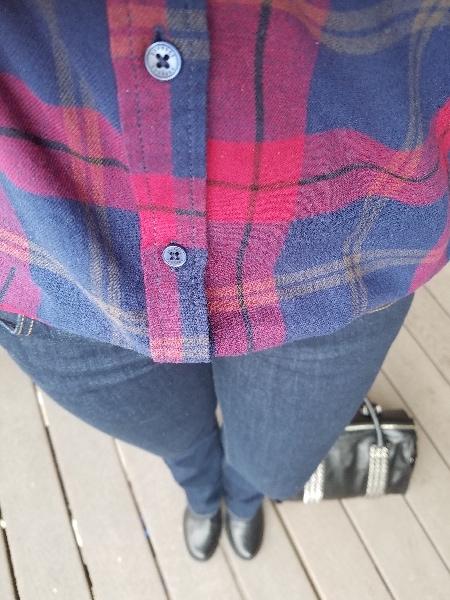 Burgundy plaid shirt with moto jacket