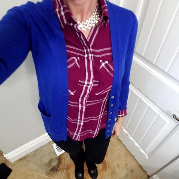 Burgundy windowpane shirt
