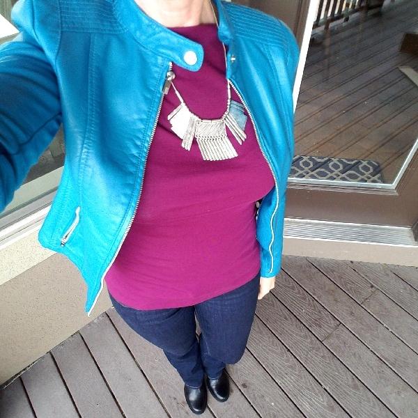 Burgundy tee turquoise jacket