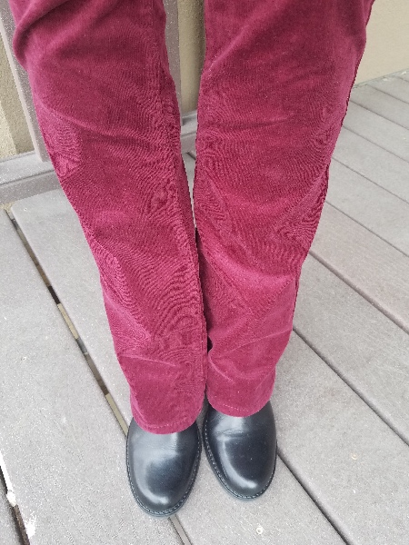 burgundy corduroy and turquoise trench