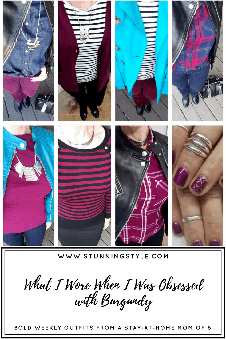 If you wear pure hues, type 4 and winter colors, burgundy is HARD color to identify. I've come up with several tricks to get this right, and I'm sharing my burgundy finds, plus my tips and tricks to train your eye with a free download that includes a burgundy color scale. Weekly outfits from a busy stay-at-home mom of 6 kids, fall style. Bold colors, bold lips, classic and edgy style. Dressing Your Truth Type 4 DYT T4 T4/3. Fall outfits.