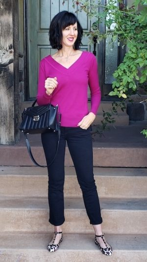 How to build a capsule wardrobe with basics - Burgundy sweater and black ankle pants outfit