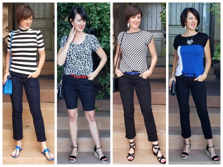 How to Build a Capsule Wardrobe Black white and blue outfits