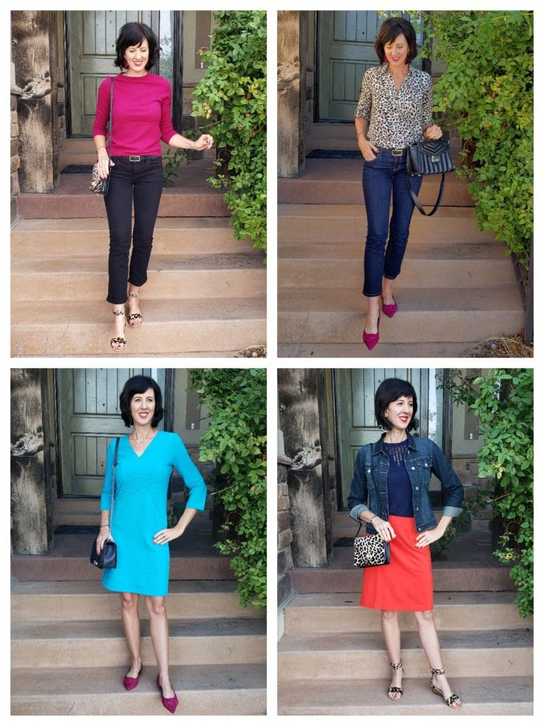Capsule wardrobe essentials add some color and pattern