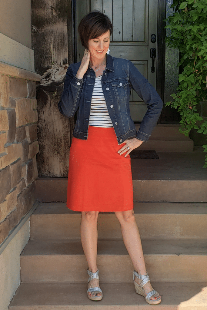 April from Stunning Style wearing capsule clothing from her curated wardrobe.