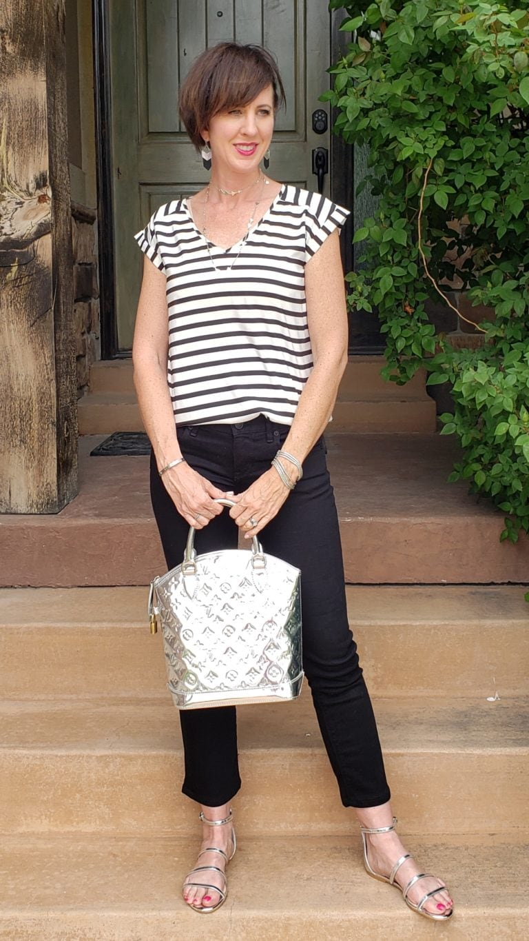 Black and white outfit ideas stripes 2