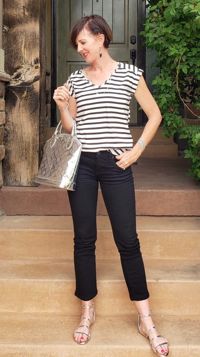 Black and white outfit ideas stripes 3