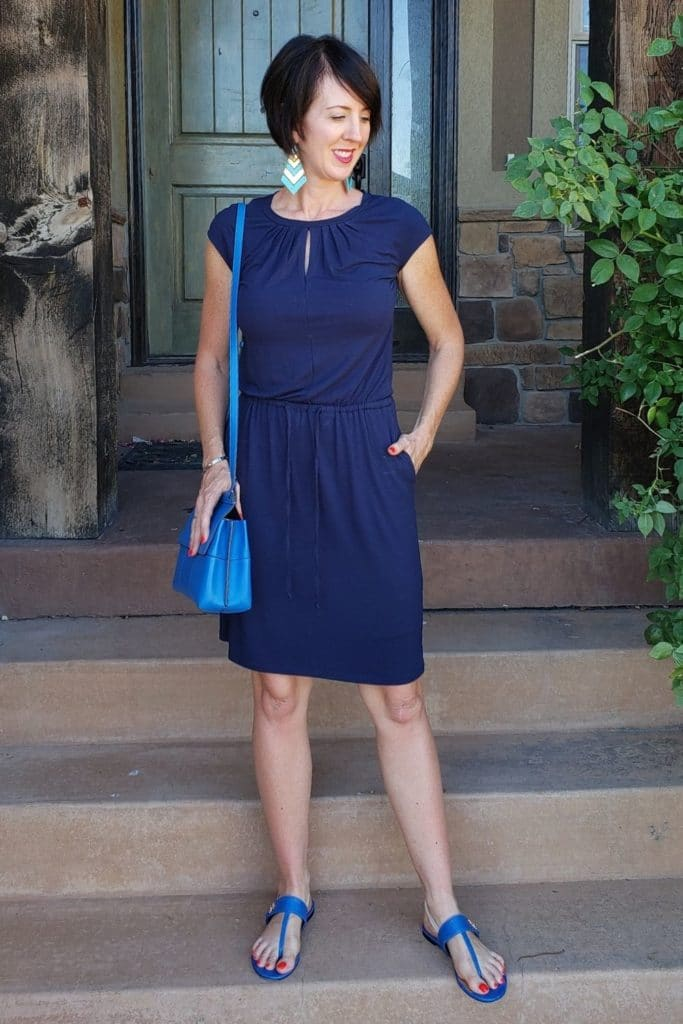 April from Stunning Style showing you how to find your style wearing a blue dress with cyan accessories.