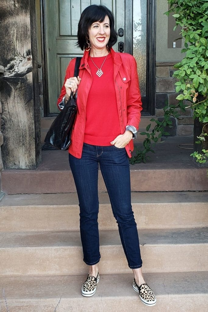 April from Stunning Style showing you how to find your style wearing a red jacket with cropped jeans.