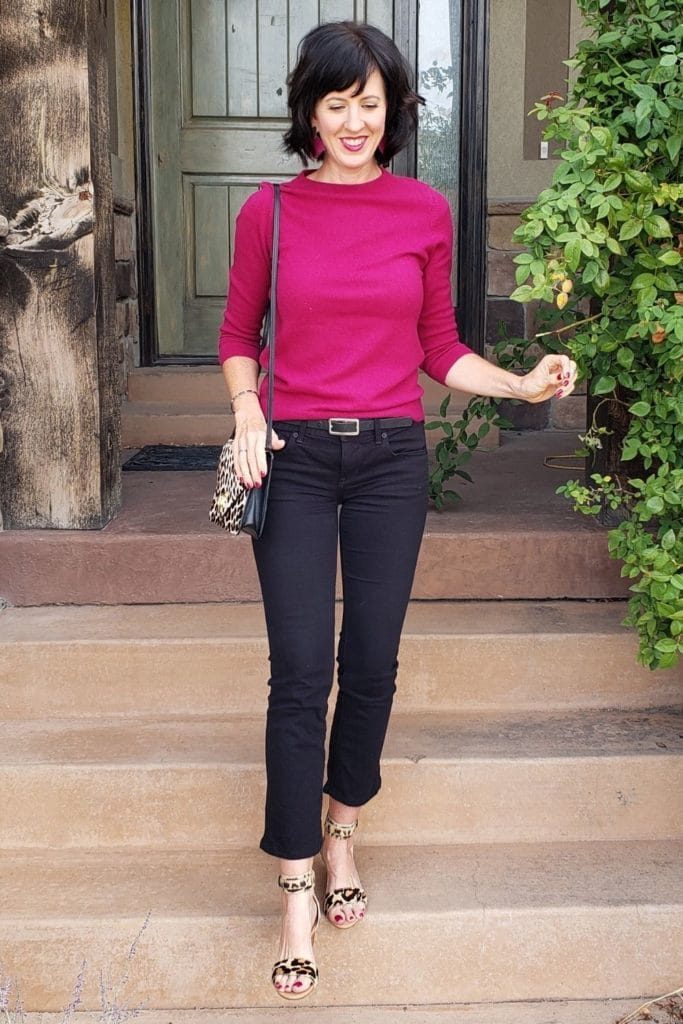 April from Stunning Style showing you how to find your style wearing a burgundy top with black cropped pants.