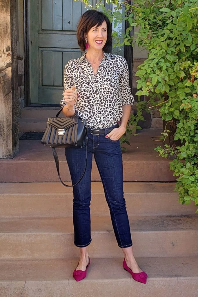 April from Stunning Style showing you how to find your style wearing a leopard pattern blouse and cropped jeans.