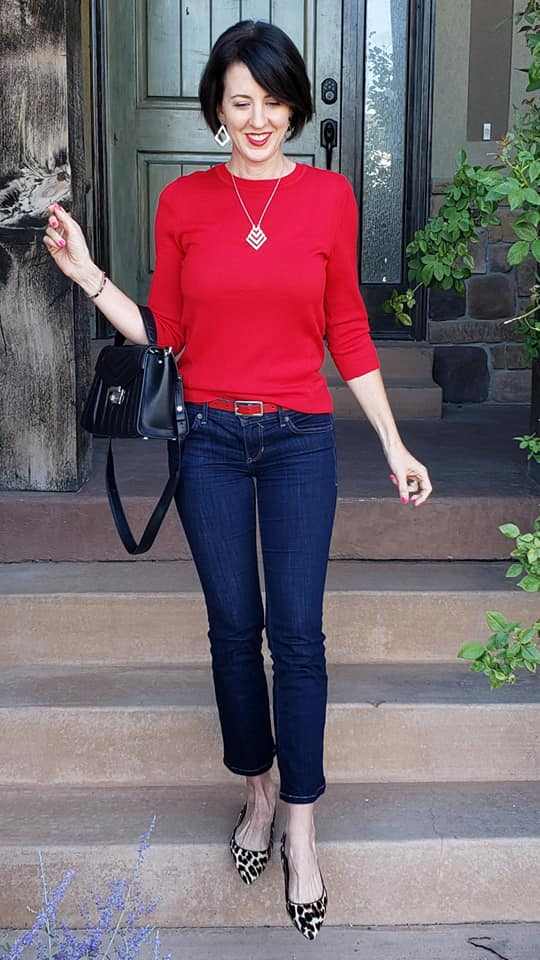 Red sweater and leopard flats