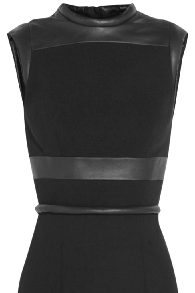 Leather trim dress