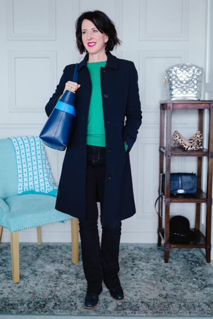 April from Stunning Style wearing wardrobe staples for classic style outfits.