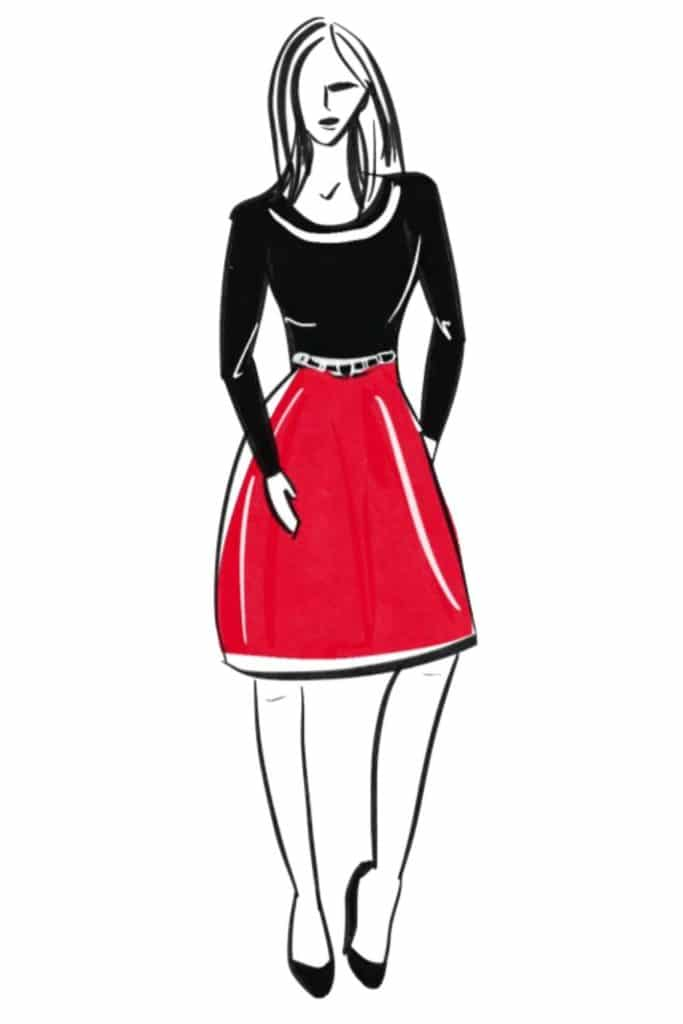 Hourglass shaped woman sketch