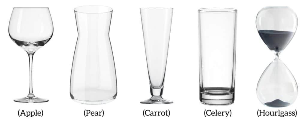 Glassware body shape examples