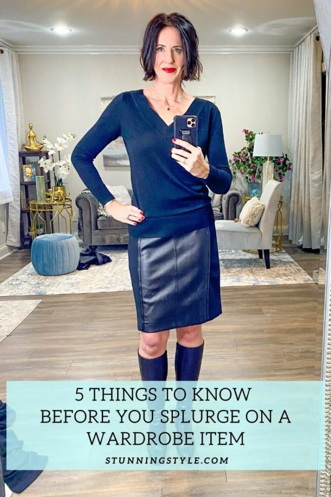 5 Things To Know Before You Splurge on a Wardrope Item, woman wearing boots, leather skirt and blue knit top