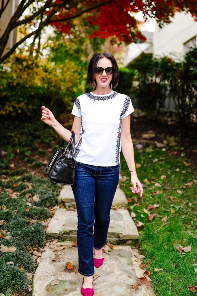 April from Stunning Style showing off her affordable wardrobe by wearing a white and black top