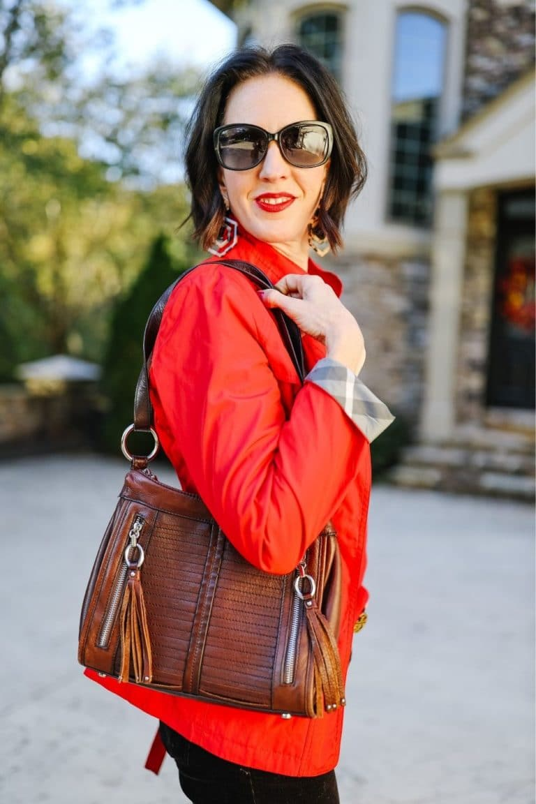 April from Stunning Style showing off her affordable wardrobe by wearing a stylish red jacket.