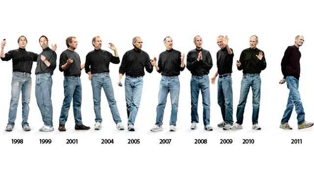 Steve Jobs wearing a black turtleneck and jeans.