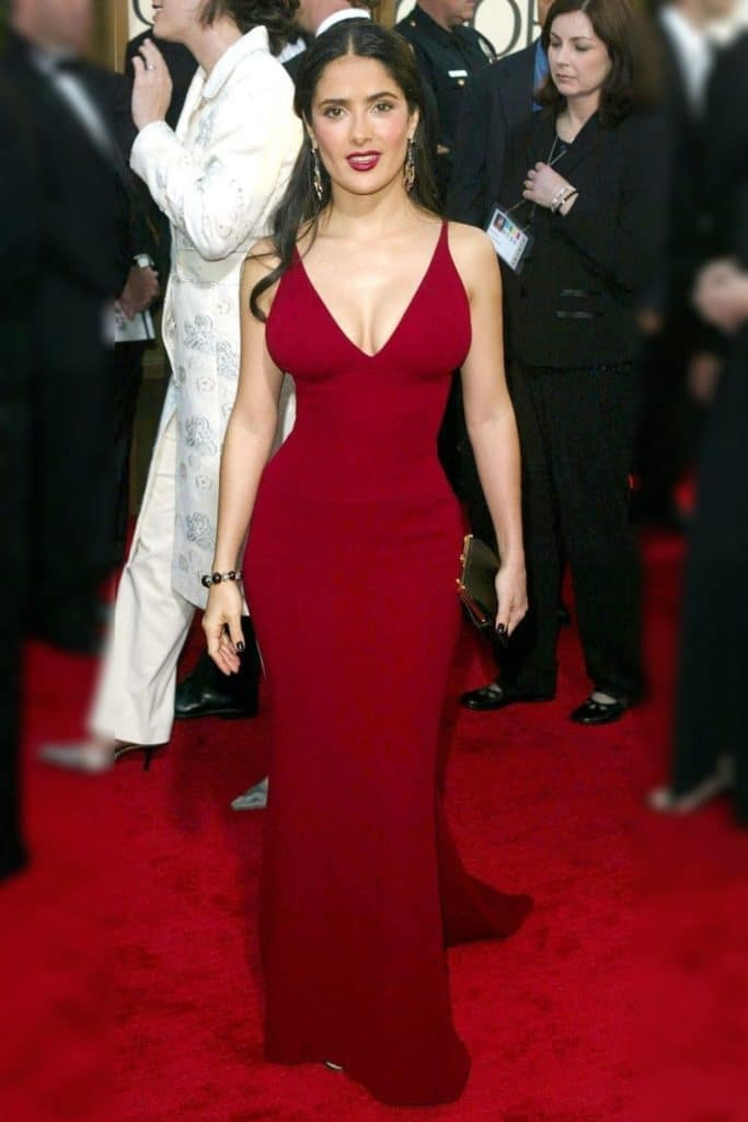 Salma Hayek wearing a red dress.