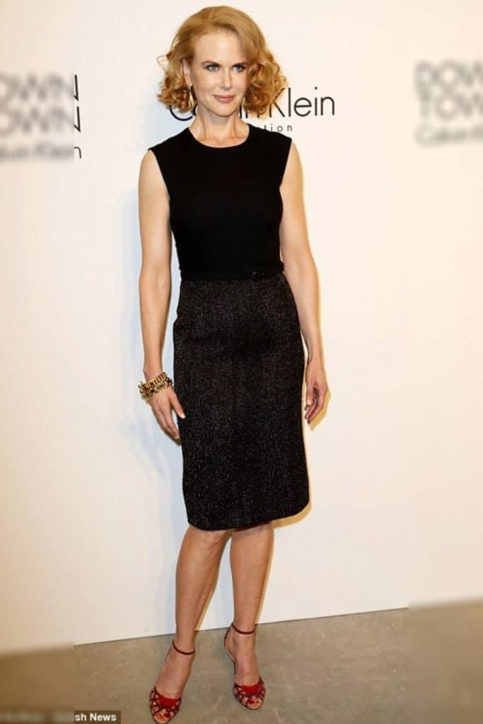 Nicole Kidman wearing a black dress.