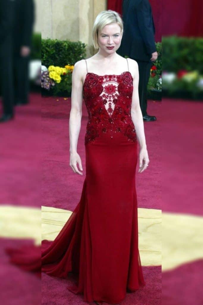 Renée Zellweger wearing a red dress.