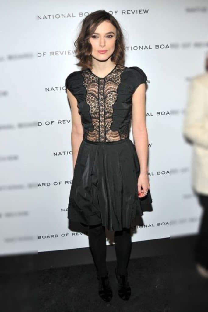 Keira Knightley wearing a black dress.