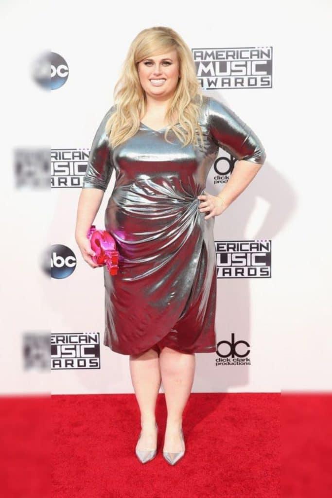 Rebel Wilson wearing a silver dress.
