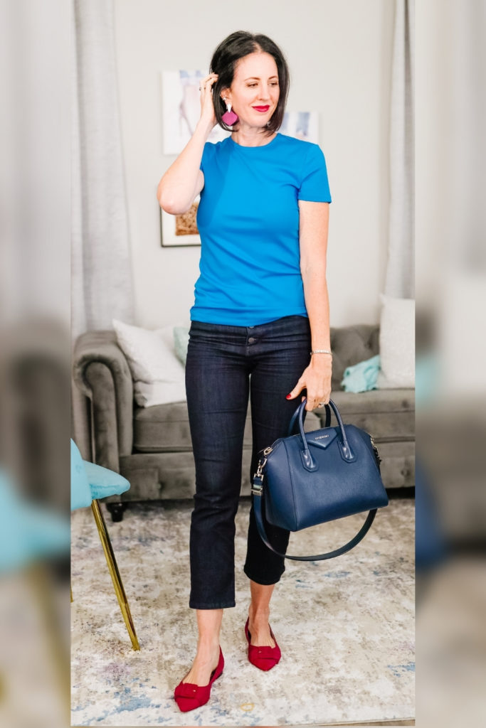 April from Stunning Style wearing a cyan top with burgundy flats to transition your outfits to fall.