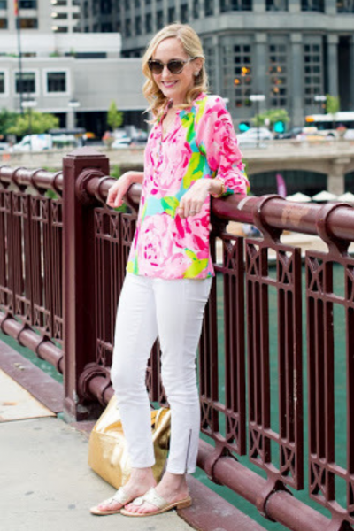 Kelly in the City colorful top