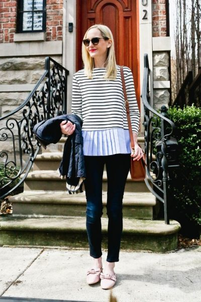 Kelly in the City gathered sleeve top