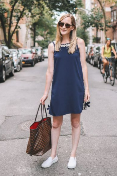 Kelly in the City navy swing dress with circles