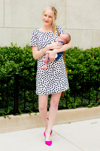 Kelly in the City polka dot dress and pink shoes