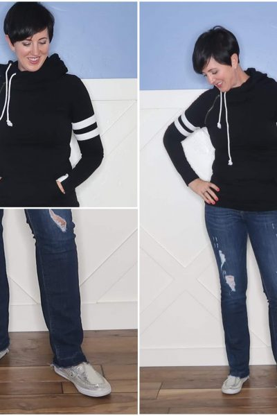 The hoodie style sweatshirt, the varsity stripes on the sleeves and the slip on sneakers are all sporty, and were perfect for a cool evening on the lake that day. The tailored fit of the sweatshirt and the colors kept it classic.